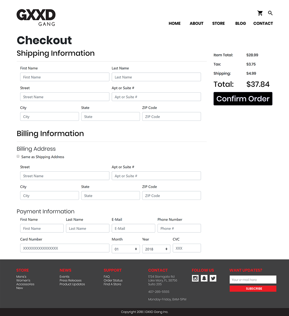 desktop design checkout form