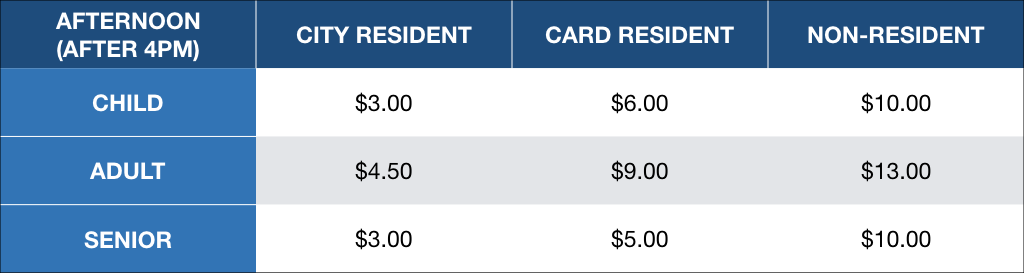 aqua park pricing afternoon