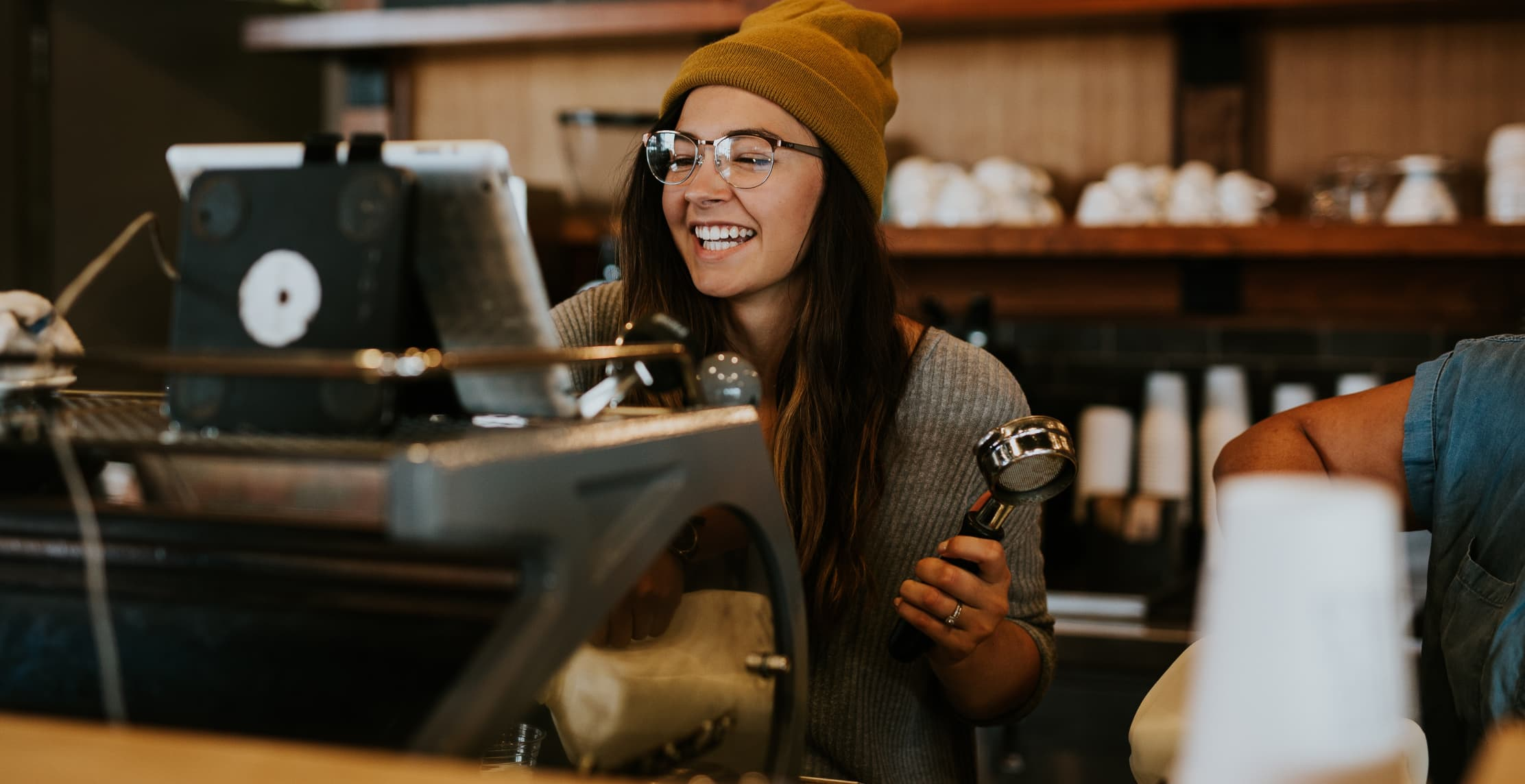 smiling coffee barista