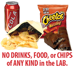 No soda or chips of any kind in the lab