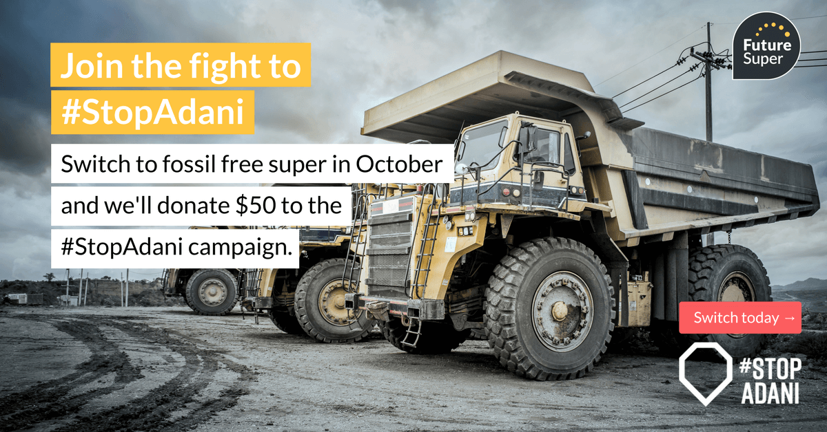 image of coal trucks for the stop adani campaign with Future Super
