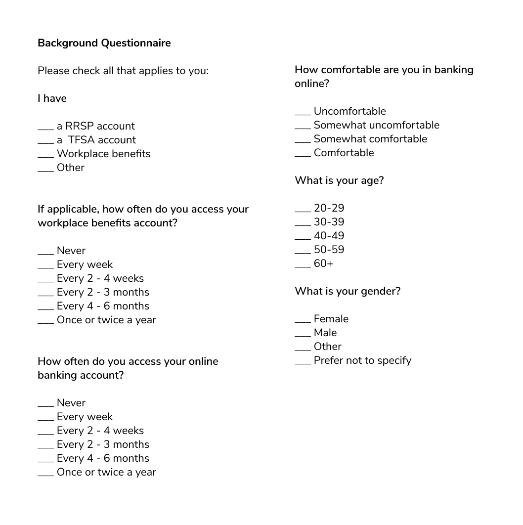 The questionnaire used during sessions to gather initial data on participants