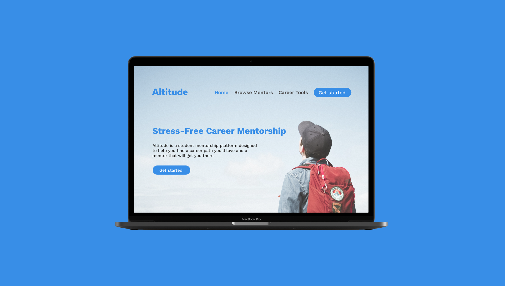 Mockup of the homepage for Altitude