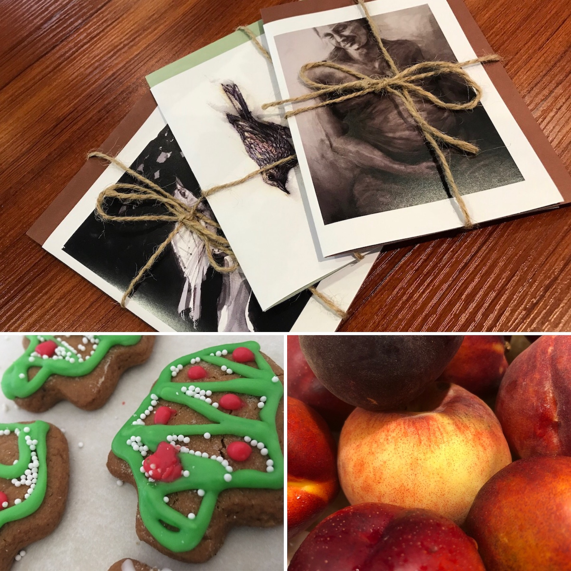 A collage of three photos. Top photo is hand drawn cards packaged to give. Underneath are two smaller photos, one of home made gingerbread Christmas tree cookies and the other of fruit.