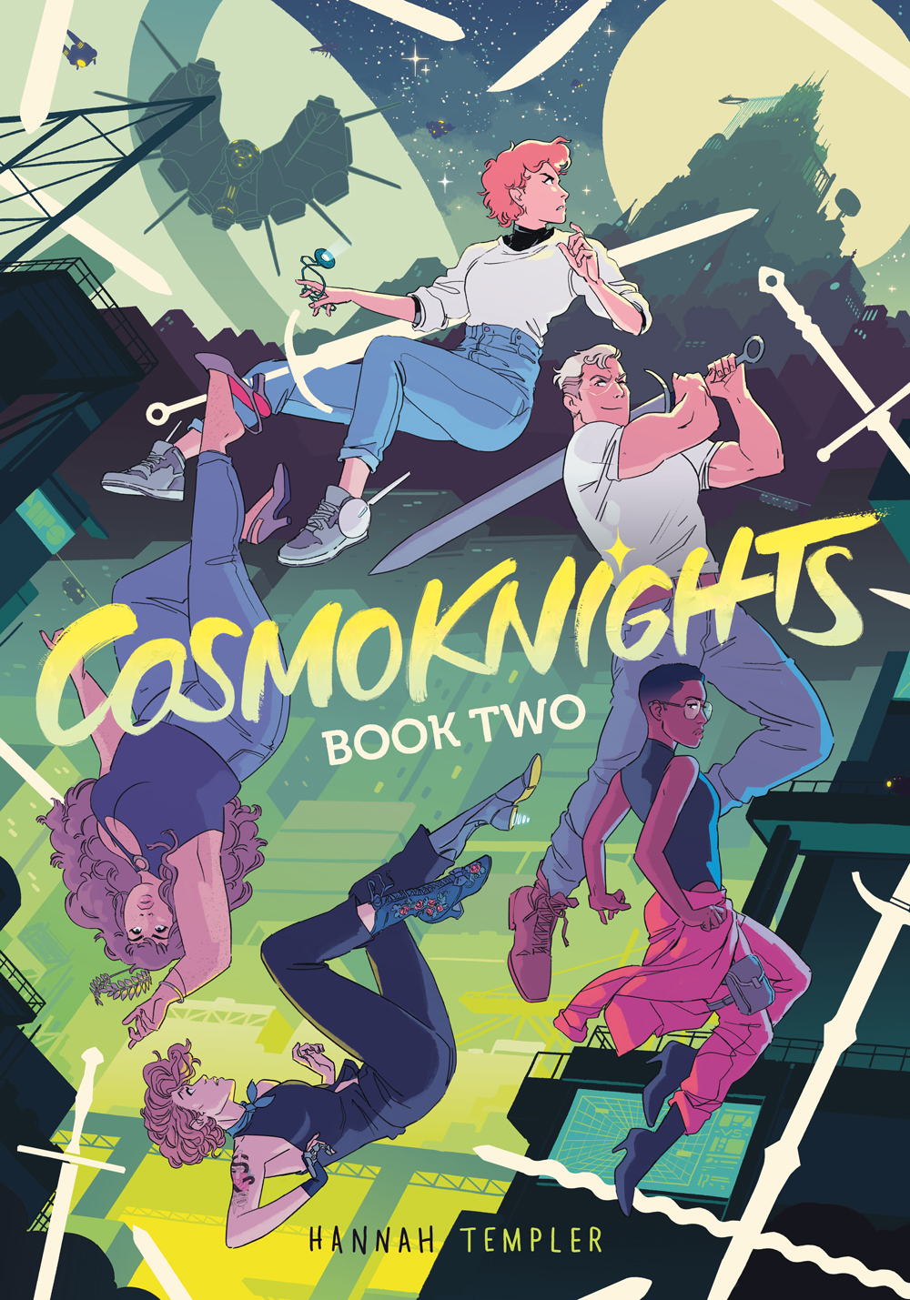 Cosmoknights Book Two Cover. Title: Cosmoknights Book Two. Byline: Hannah Templer. Five women fall through the air, surrounded by falling swords. The first woman is white, young, and dressed casually, with pink hair. She is looking up at a castle in the distance, and holding a glowing locket in her right hand. The second woman is white and muscular, with cropped blonde hair, and is holding a sword over her shoulder and grinning. The third woman is Black, with a TWA fade haircut, and is wearing pink overalls and black high heels, looking doubtfully over her shoulder. The fourth woman is white, and has a snake tattoo on her shoulder. She also has a metal prosthetic leg with a glowing cybernetic high-heel. The final, fifth woman is of Korean descent, and is falling upside down, a crown of golden leaves falling from her head. She has long flowing hair and is wearing high heels and casual clothes. The background is full of spaceships, stars and castles lit with neon lights. A larger spaceship with protruding spikes looms ominously in the sky above a futuristic looking city.