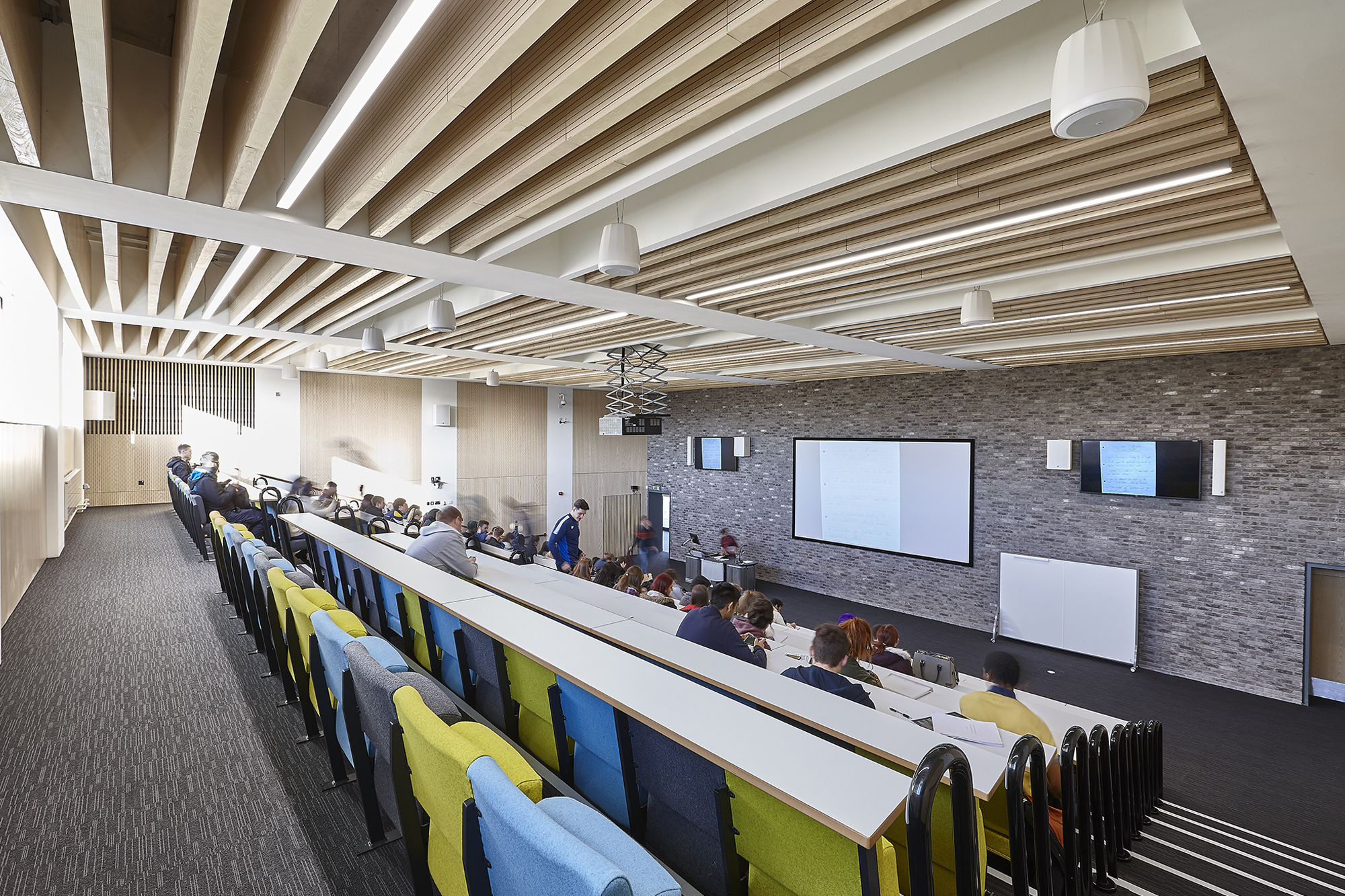 Designed lecture theatre with audio and lighting technology