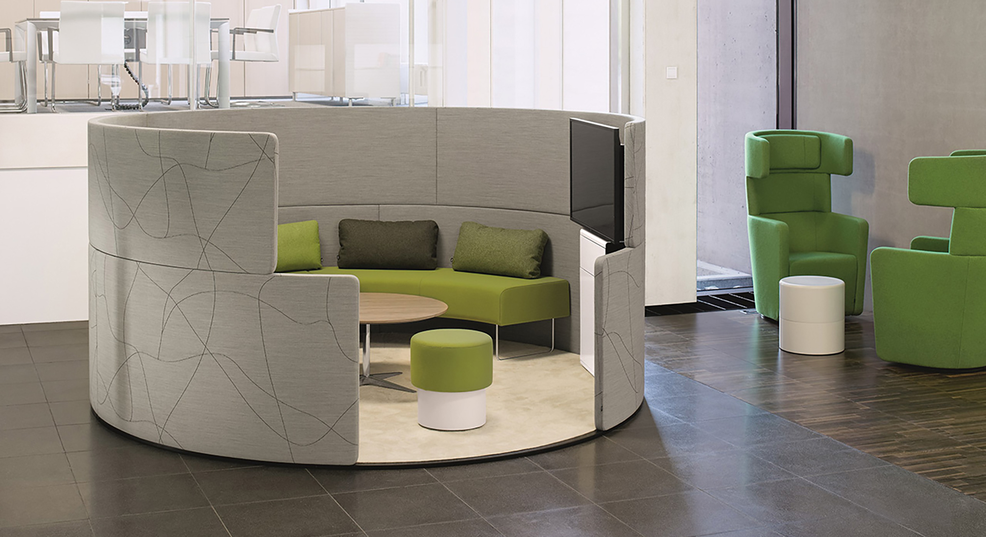 Designed Collaborative pods for business and education areas