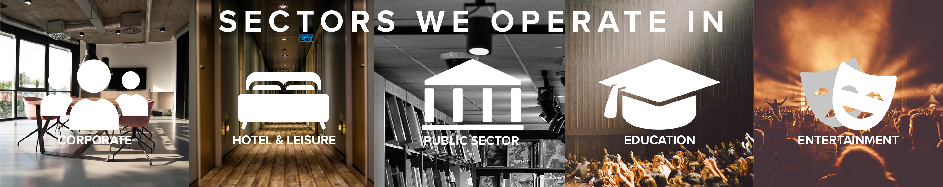 R&W Sectors we operate in, business, hotel and leisure, public sector, education and entertainment