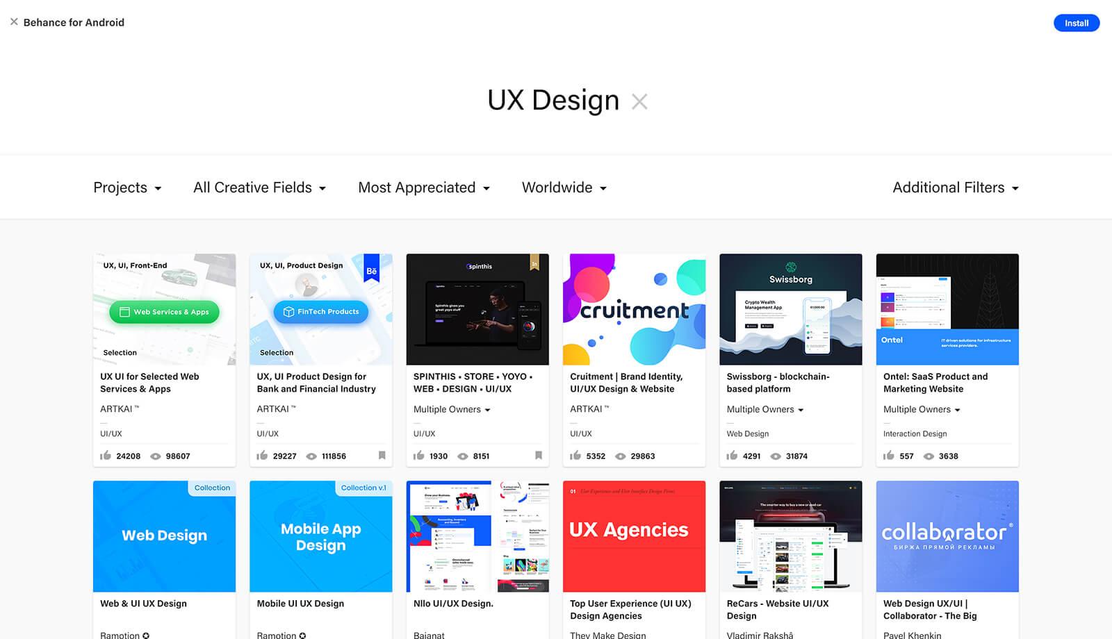 Behance webdesign inspiratie