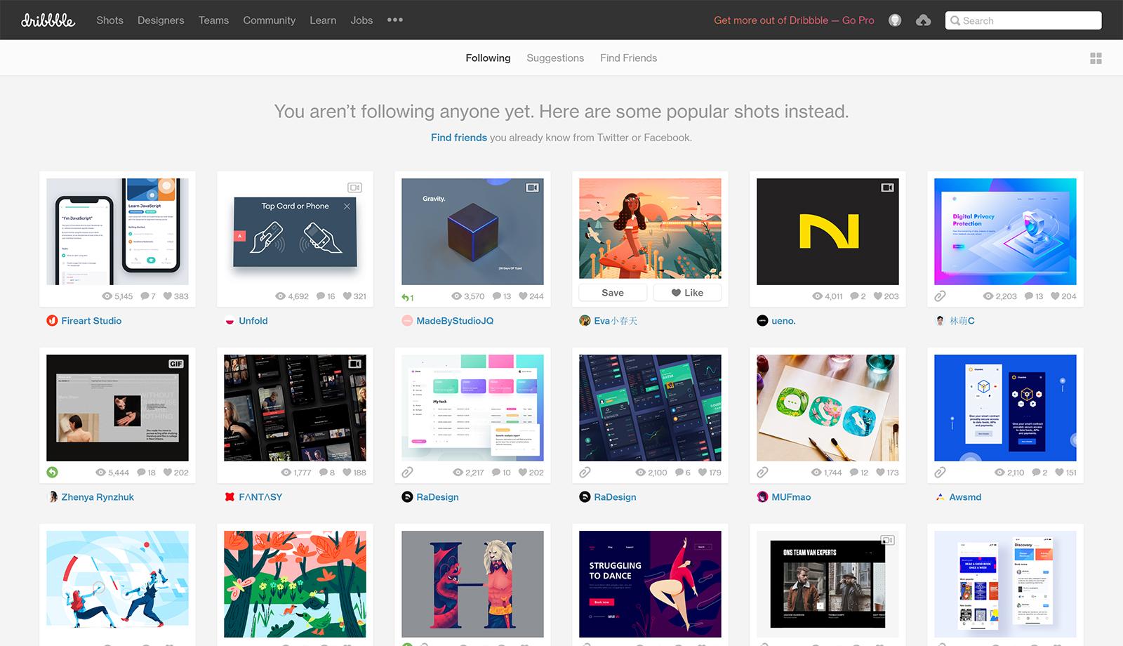 Dribbble webdesign inspiratie