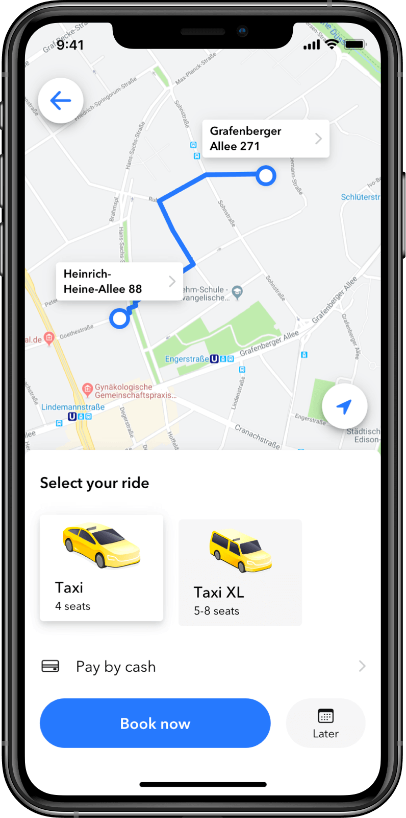 Taxi Software Customer App: Selection of Vehicles