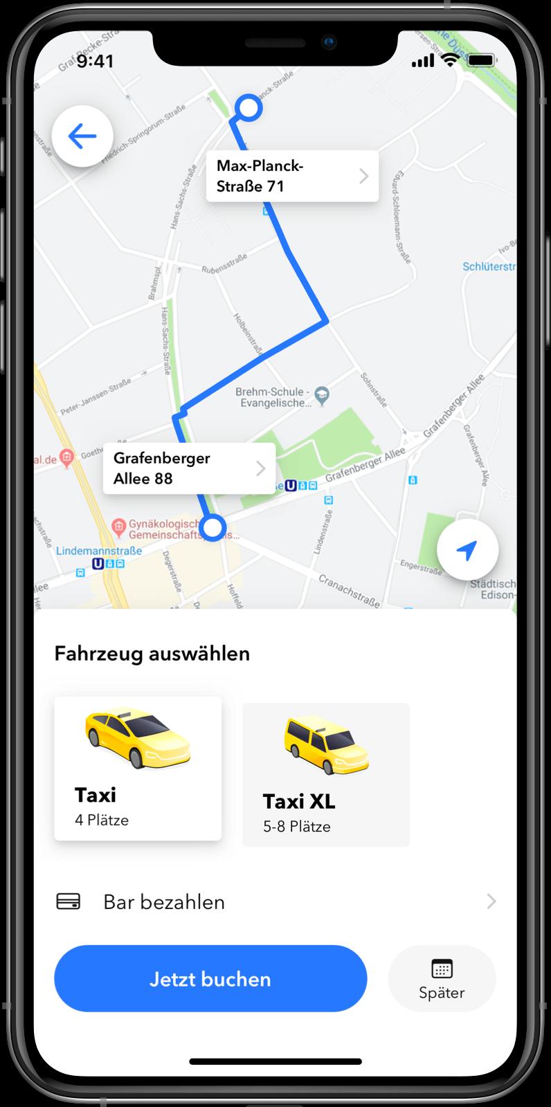 Taxi Software Kunden-App: Auswahl des Fahrzeugs
