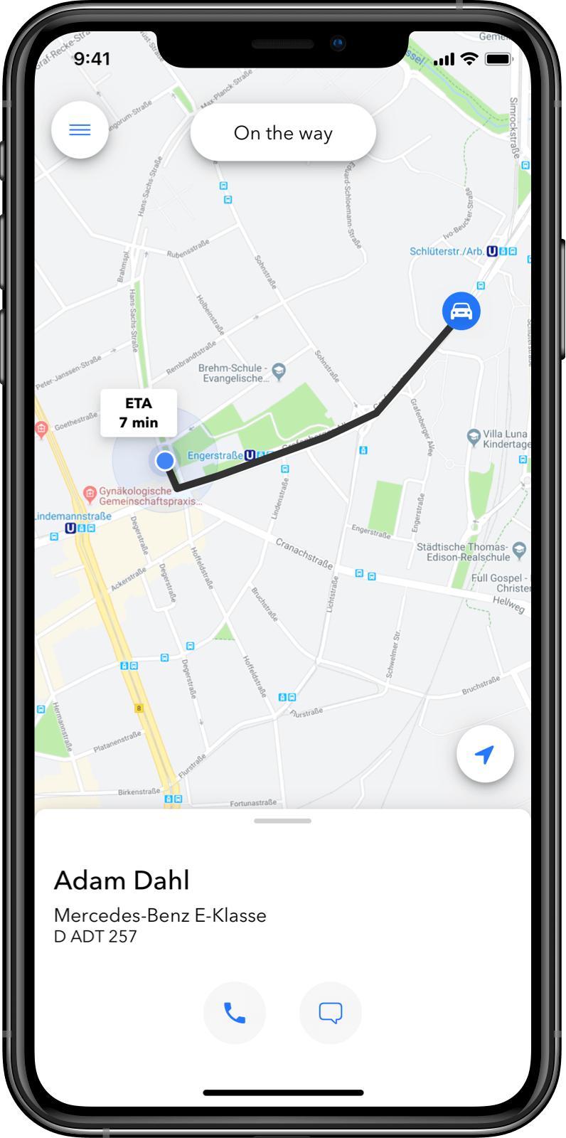 Customer App: Live tracking on a map
