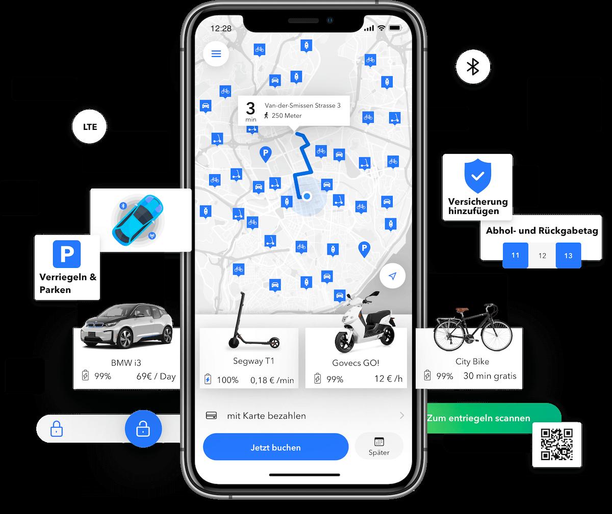 Carsharing, Scooter-Sharing, E-Bike Sharing Software
