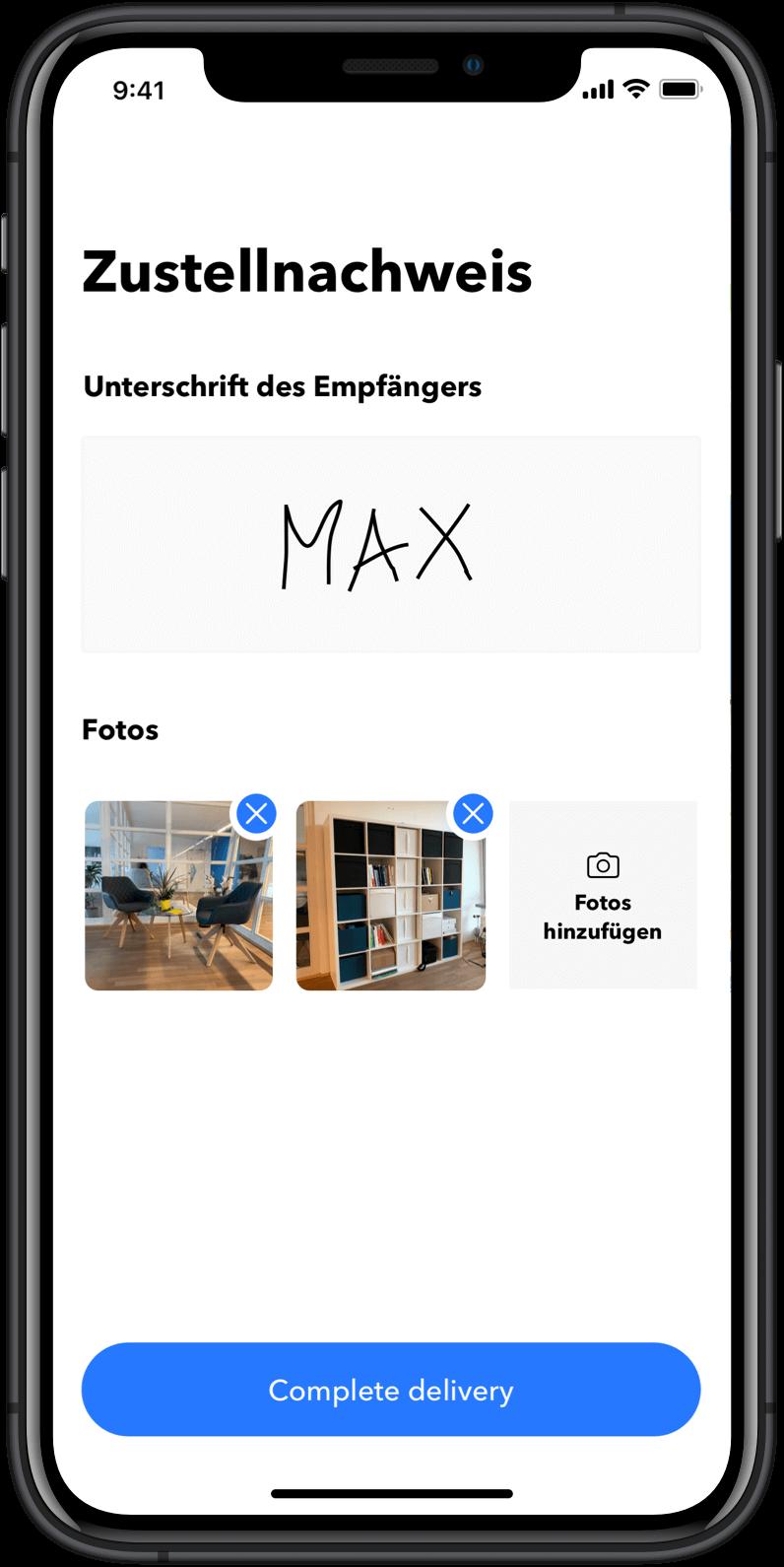Lieferflotten-App: Zustellnachweis