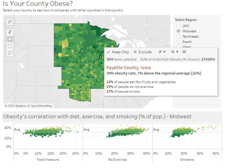 heat map obesity statistics population health