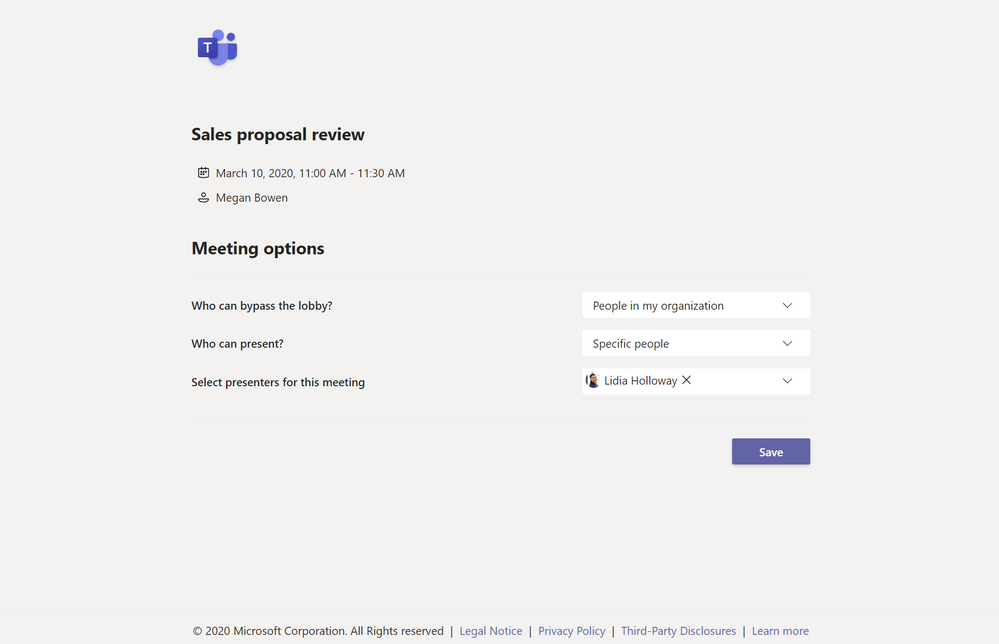 Adjusting Microsoft Teams Meeting Options