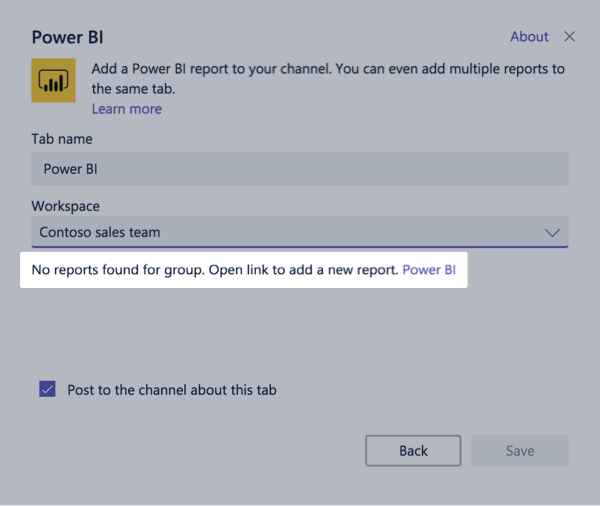 Add a Power BI Tab to Microsoft Teams
