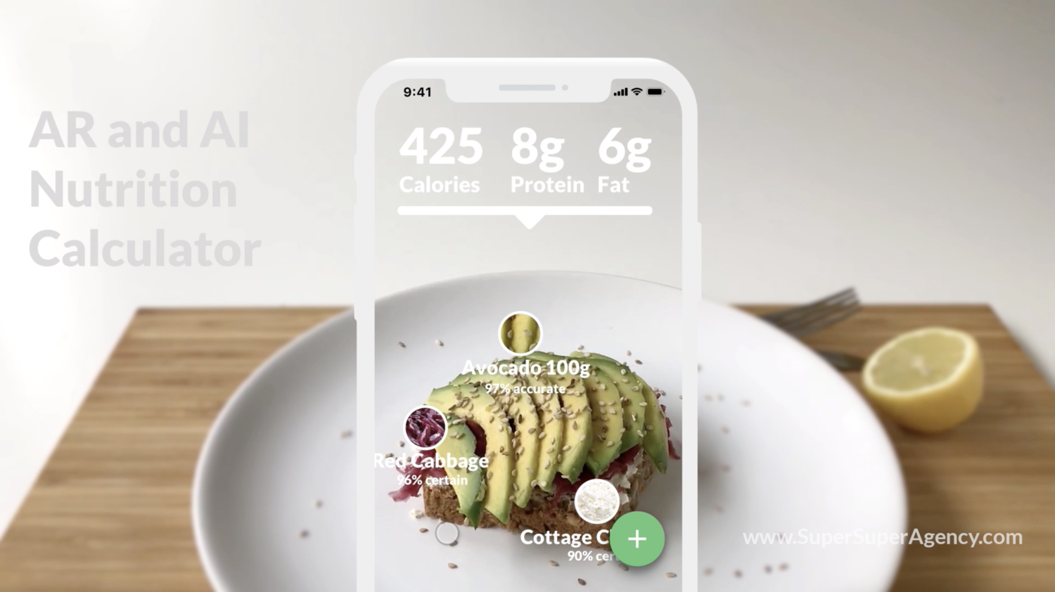 After it has done recognizing your meal, the app calculates your calories, protein, or other things your decided you to keep track and shows you a calculation, preview of your meal and information.
