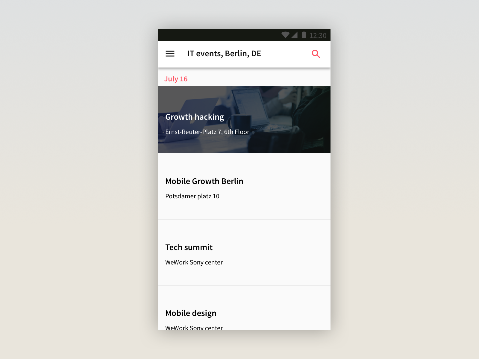 The UX/UI design follows Google material design guidelines.