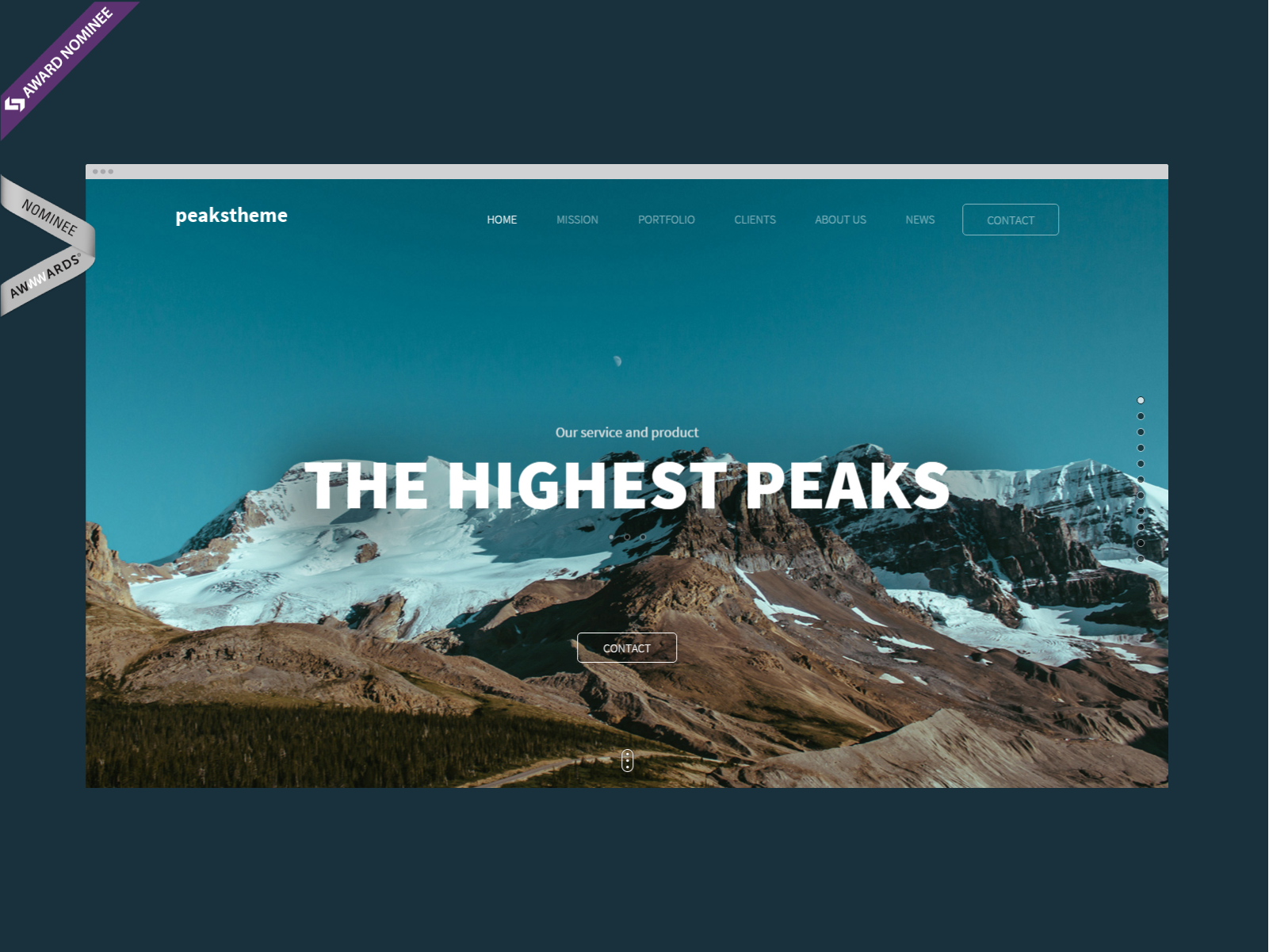 """Peaks"" has been nominated for ""Website of the day"" award at Awwwards.com – worlds most recognized web design award website:  http://www.awwwards.com/best-websites/peaks-digital-agency-template/"