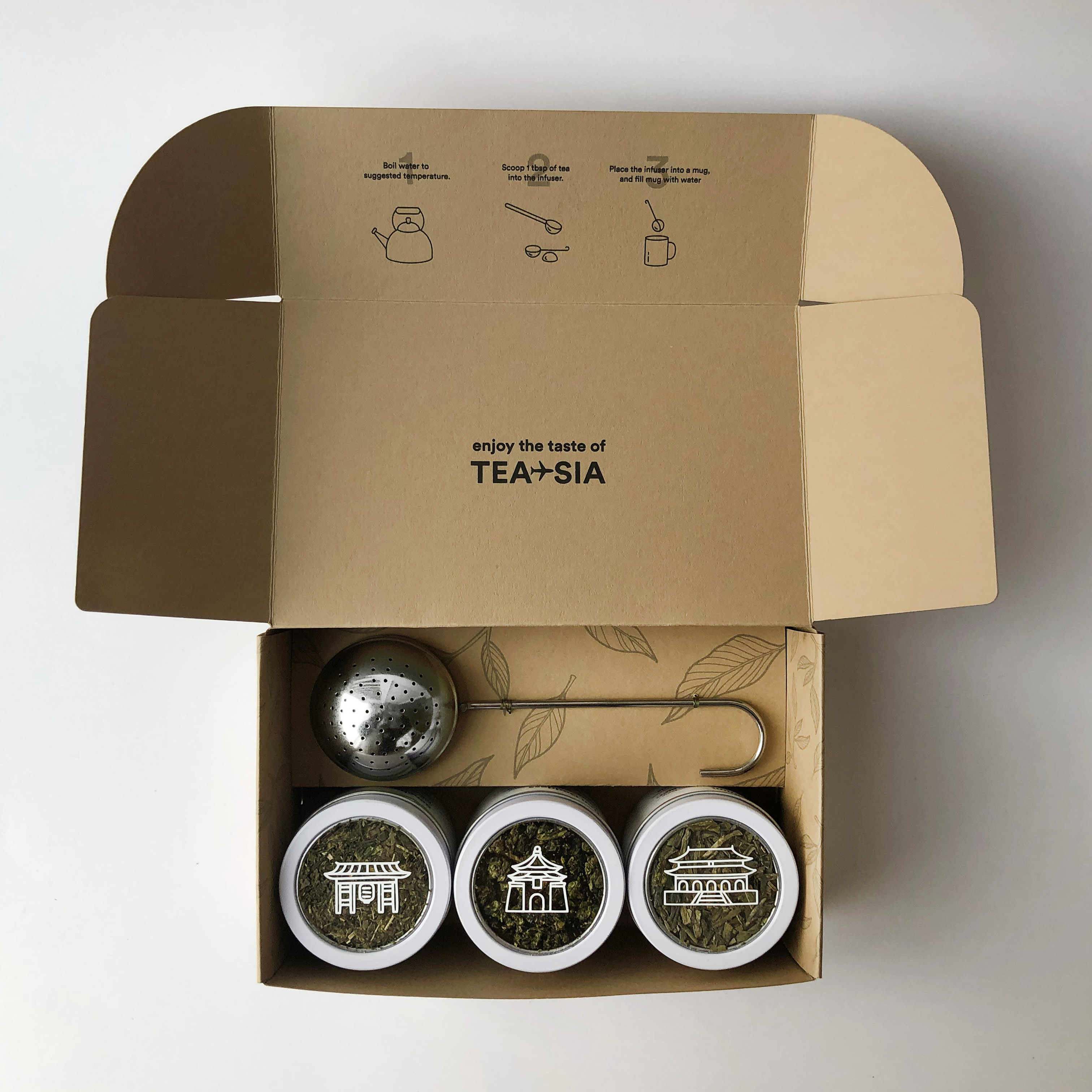 Open box with tea tins.