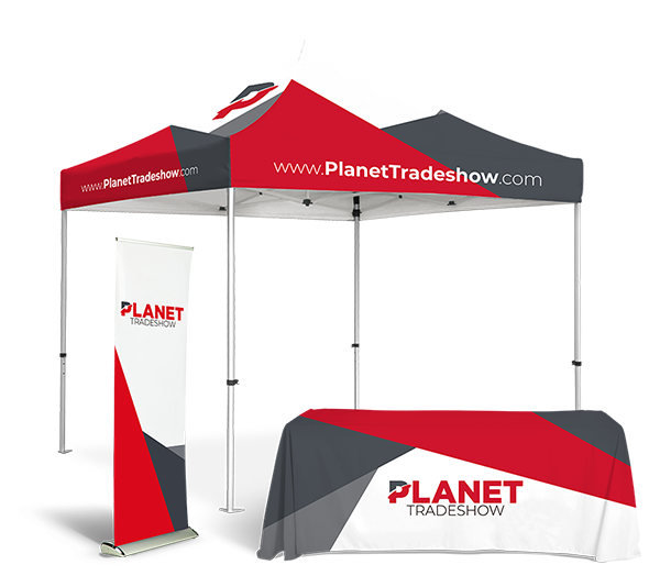 Planet Tradeshow tent, table cover and retractable.