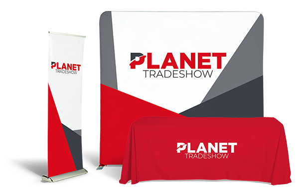 Planet Tradeshow table throw, retractable, bannerstand.