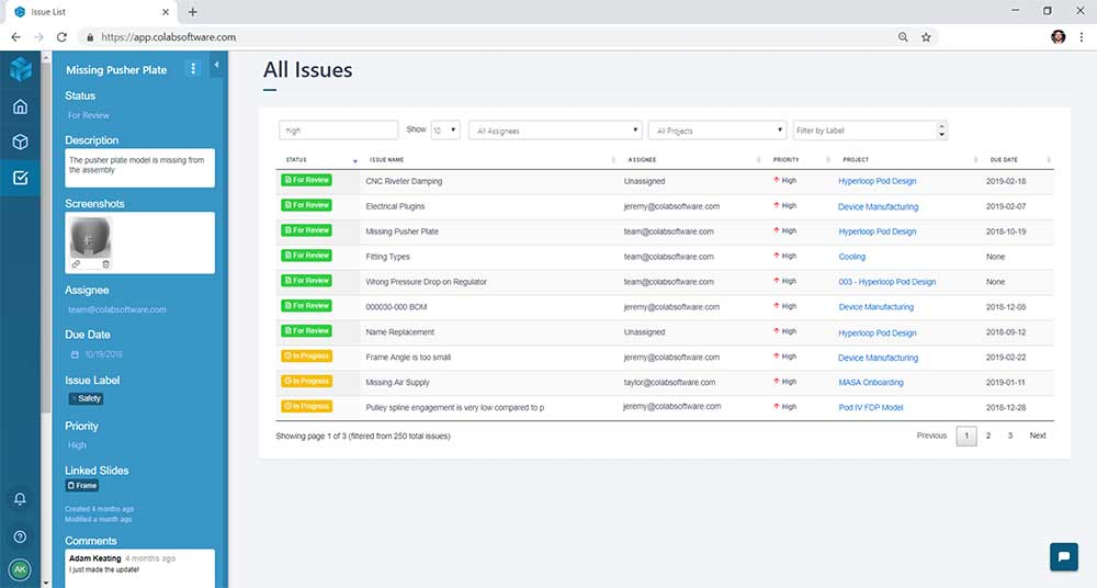 Screenshot of an open issues list for mechanical design issue tracking in the Gradient software