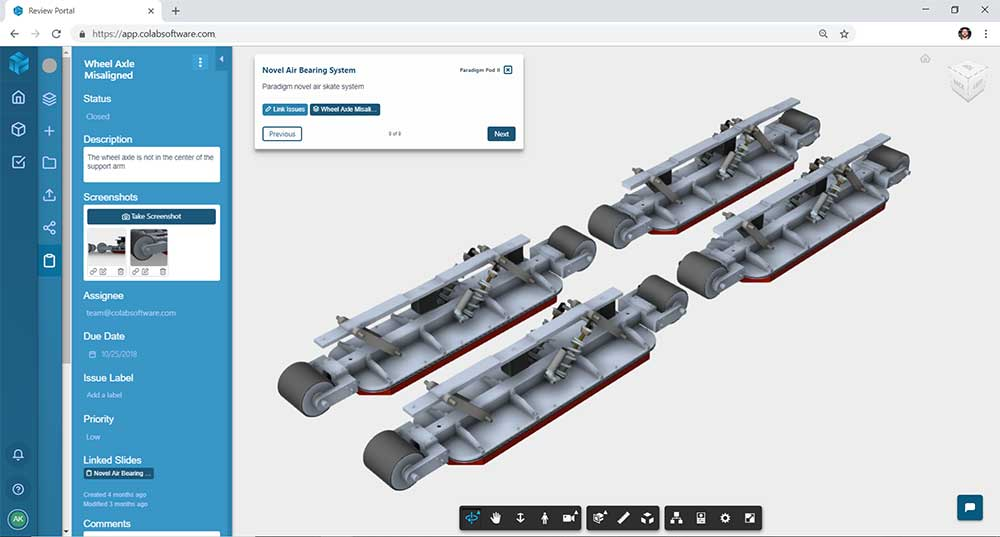 Screenshot of the hyperloop pod air bearings design in the 3D viewer of the Gradient design review software