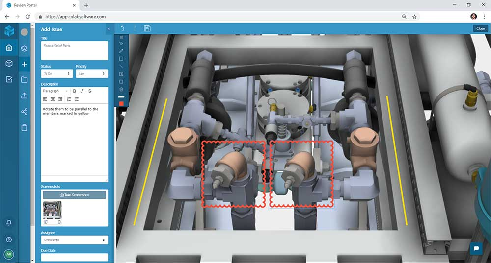 Marking up a 3D model of aerospace equipment in the 3D viewer of the Gradient design review software