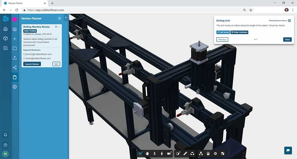 Screenshot of a web-based design review of a CNC machine CAD model in the Gradient design review software
