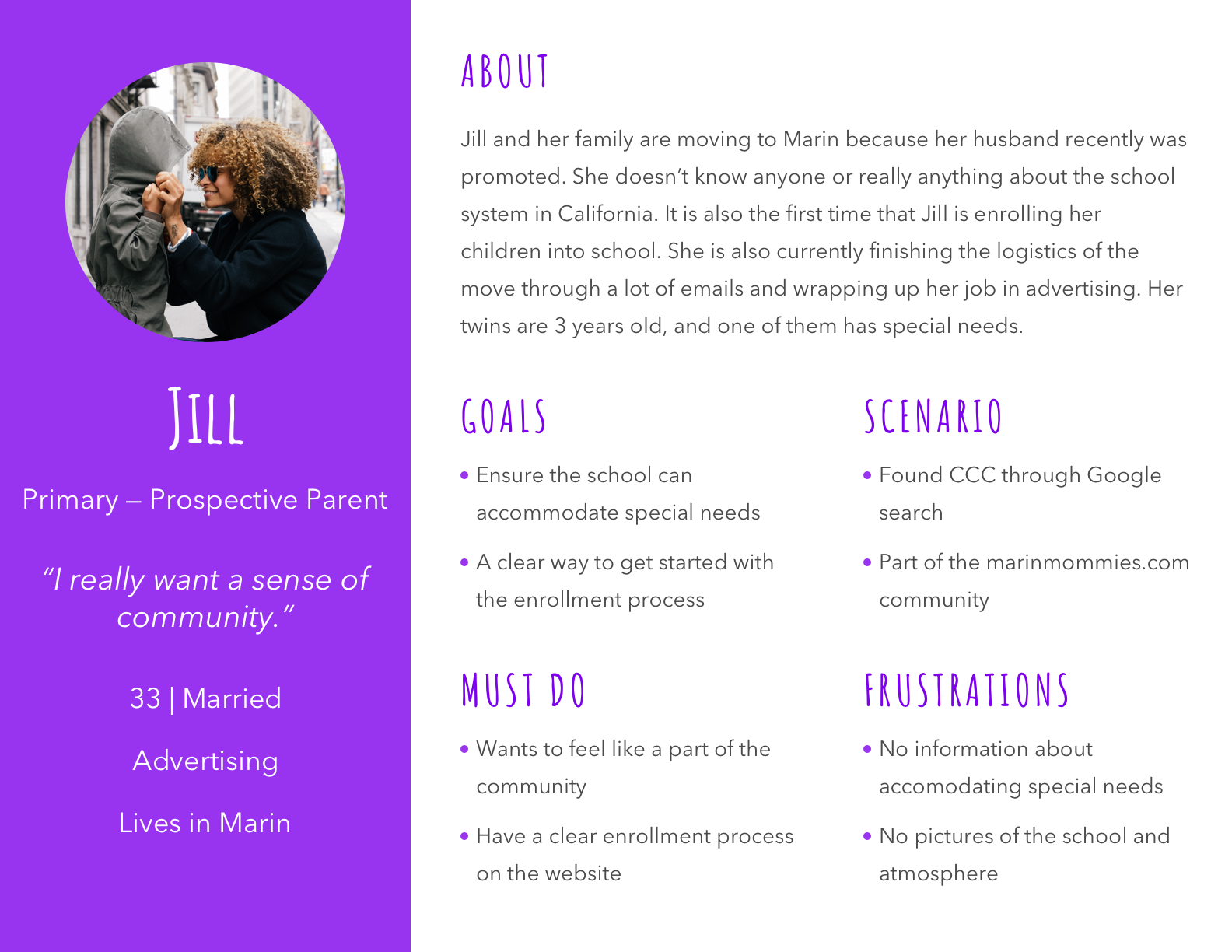 An infographic of the main persona which we are designing for.. Jill and her family are moving to Marin because her husband recently was promoted. She doesn't know anyone or really anything about the school system in California. It is also the first time that Jill is enrolling her children into school. She is also currently finishing the logistics of the move through a lot of emails and wrapping up her job in advertising. Her twins are 3 years old, and one of them has special needs.