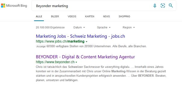 """Bing SERP Ergebnis zu """"BEYONDER MARKETING"""", andere Darstellung im Gegensatz zu Google"""