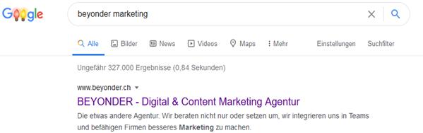 """Google SERP Ergebnis zu """"BEYONDER MARKETING"""""""