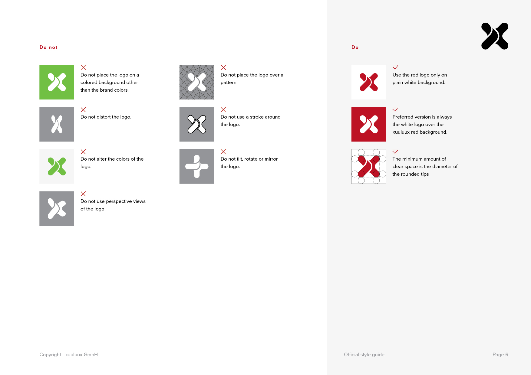 Page 6 of the official xuuluux Style Guide