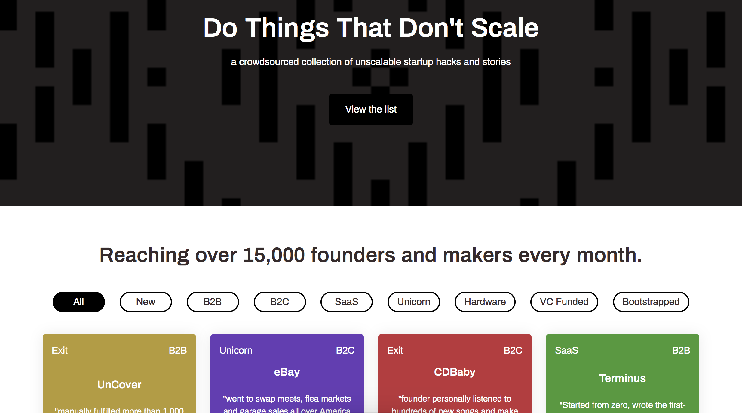 Crowdsourced stories of founders that succeeded doing things that didn't scale