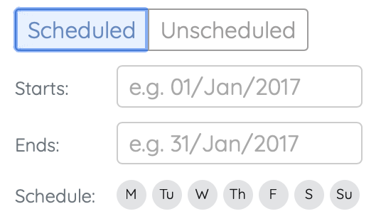 scheduled settings