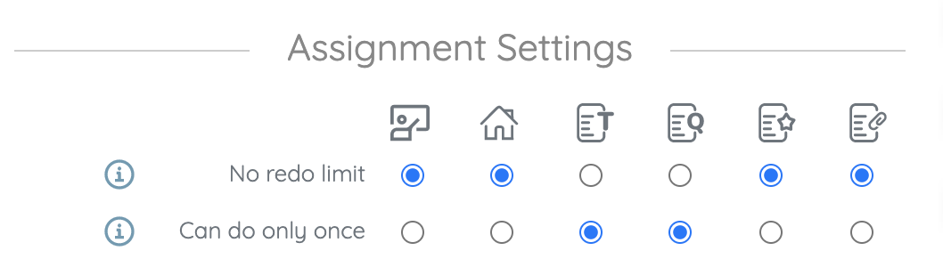 assignment settings