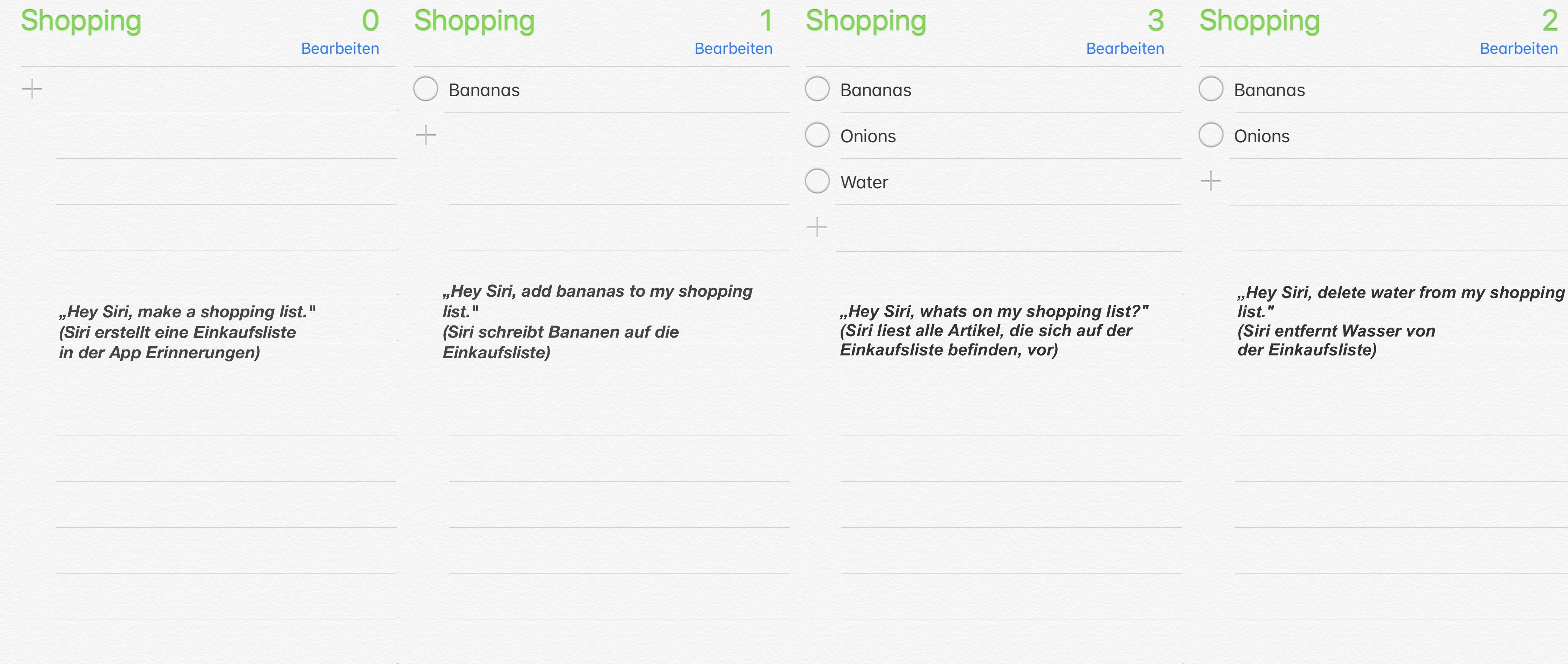 Erstellen einer Einkaufsliste mit Siri und dem HomePod