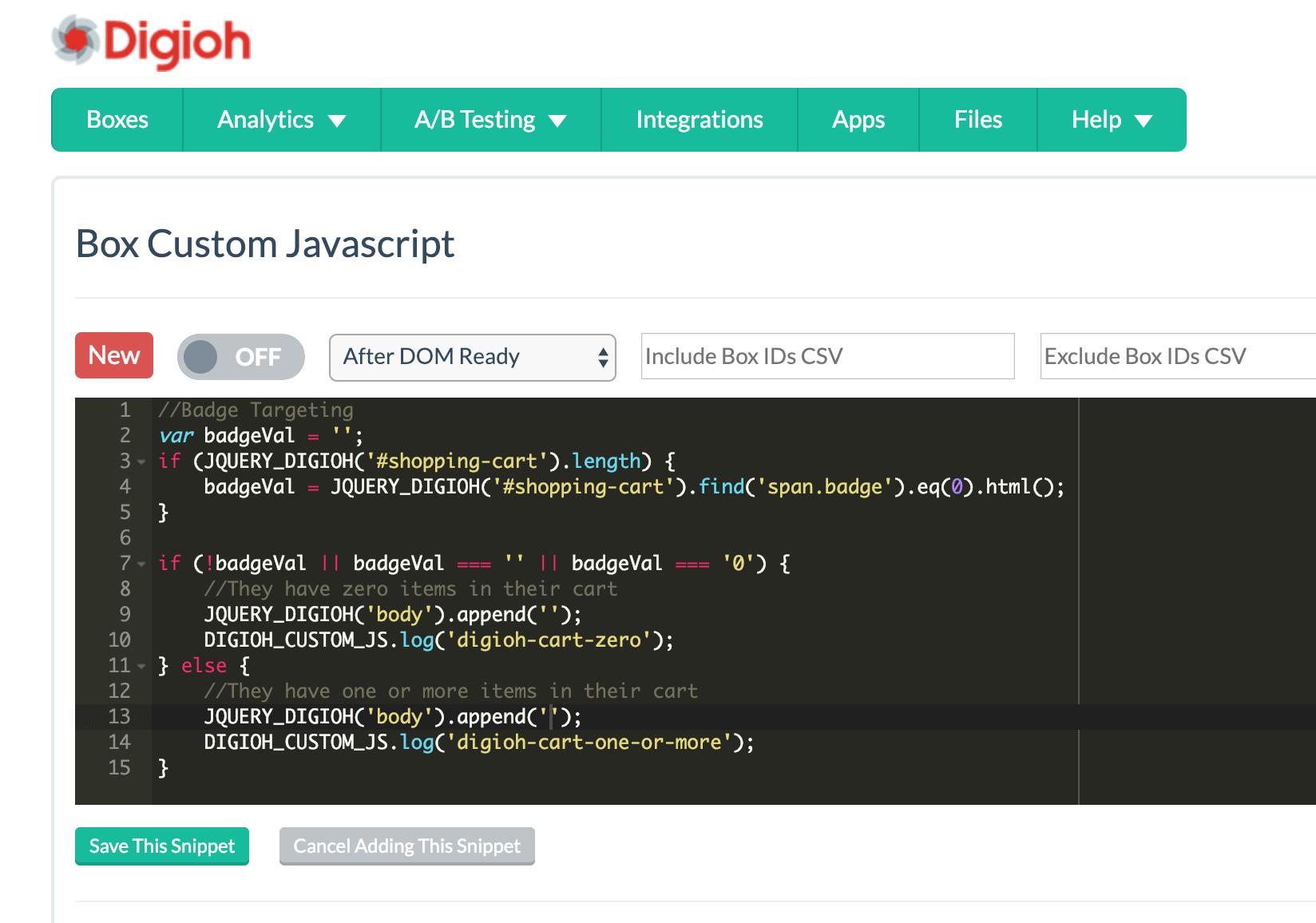 Custom JS for advanced customizations