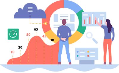 Illustration of people standing in front of charts and graphs