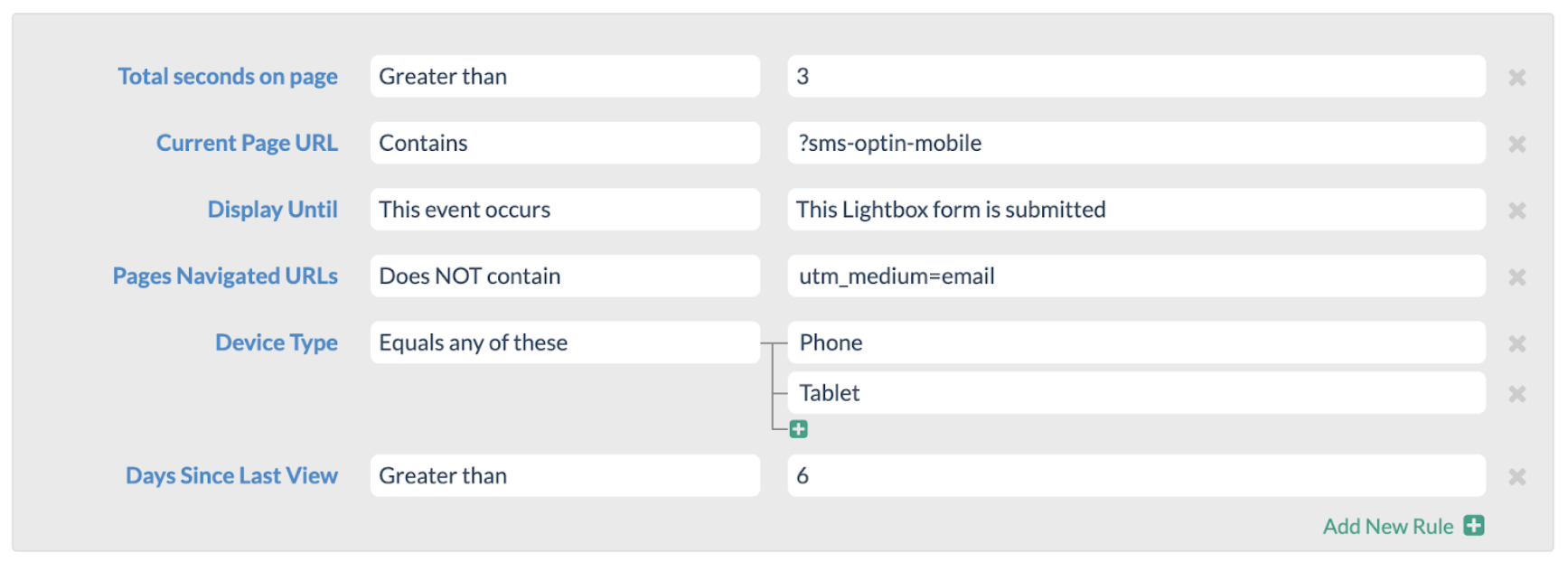 Targeting conditions for your Marketing Cloud forms