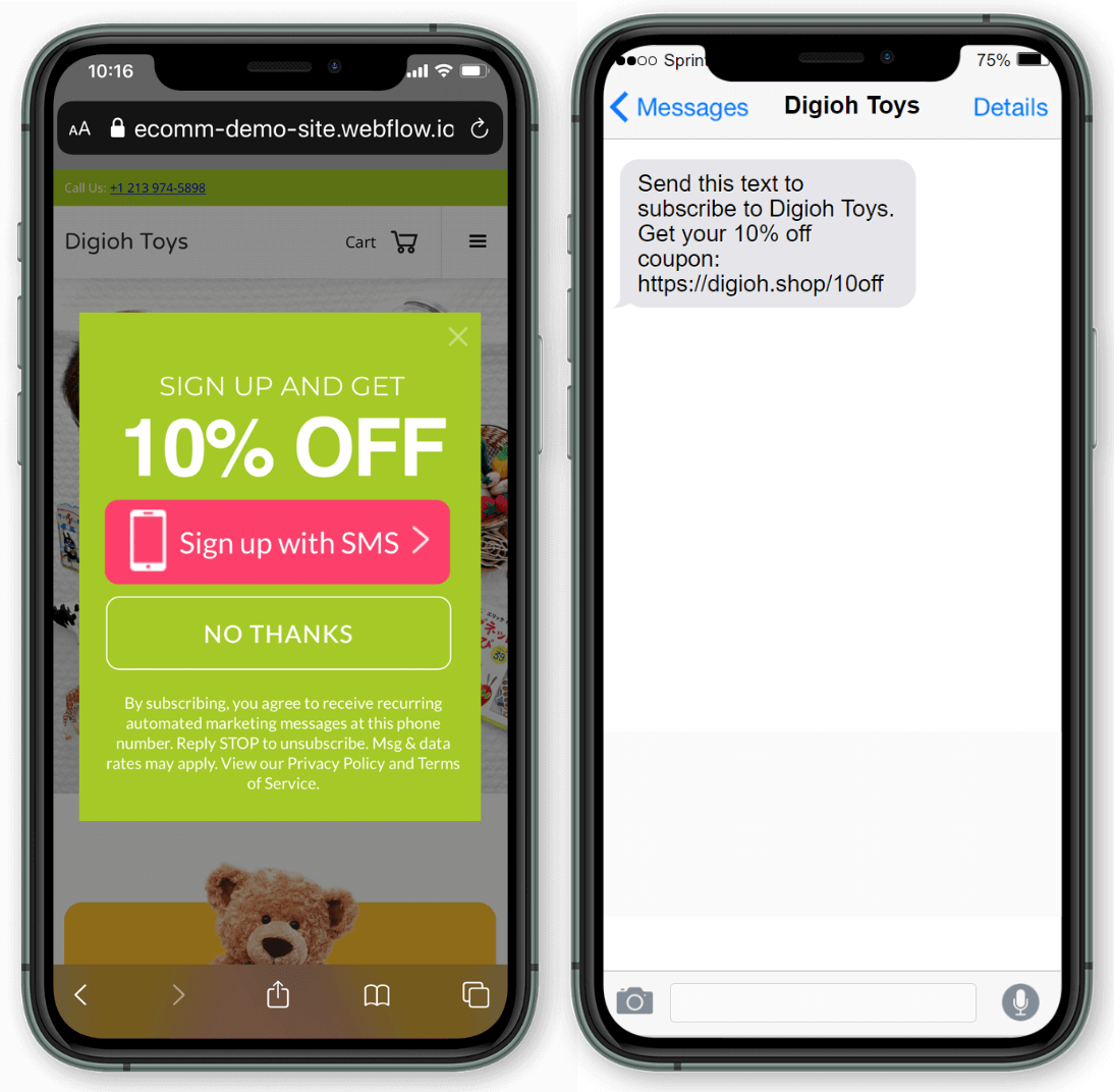 One tap optin for SMS