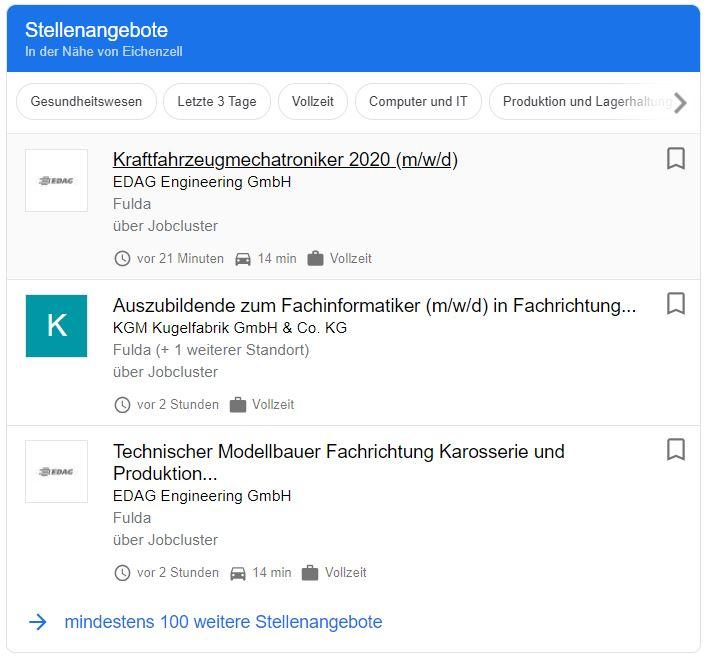 Beispiel für Google for Jobs Suche