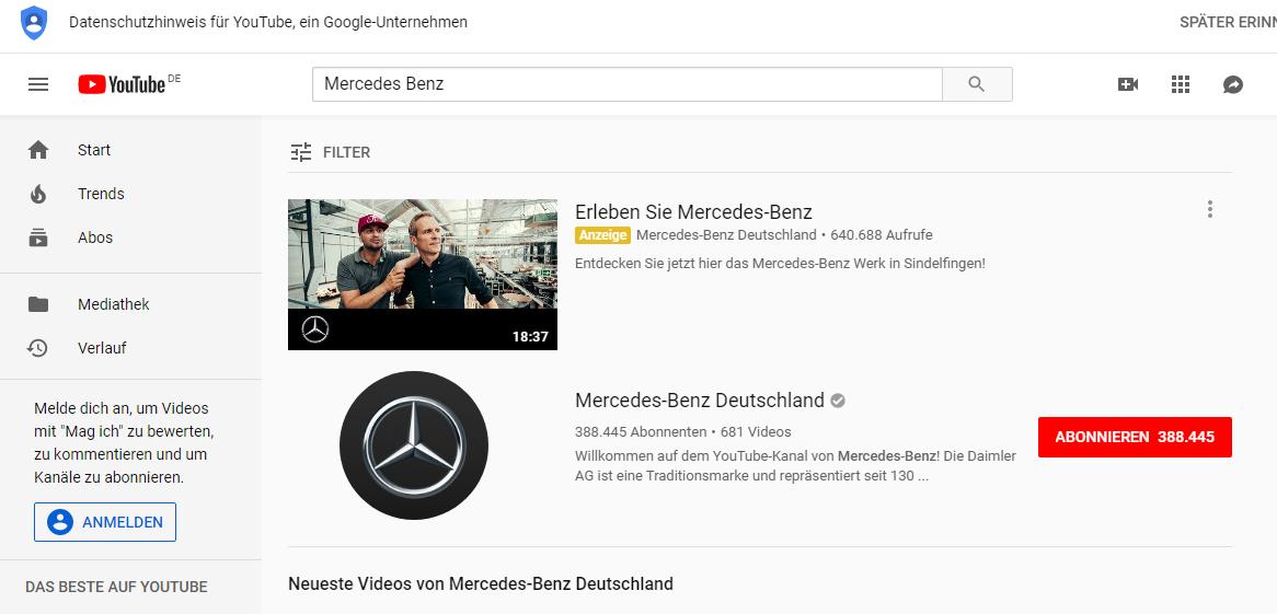 Beispiel für Google Video Ads