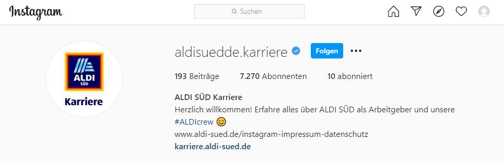 Aldi Süd Instagram Karriereseite