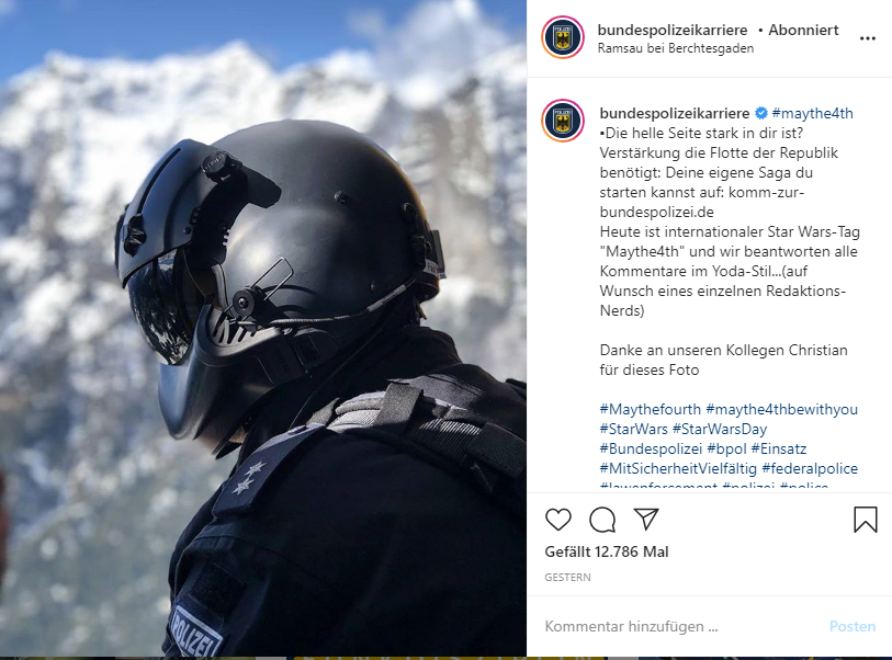 Bundespolizei Post am Star Wars Day (4.5.2020)