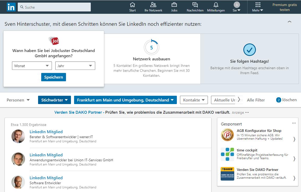 LinkedIn Suchfilter