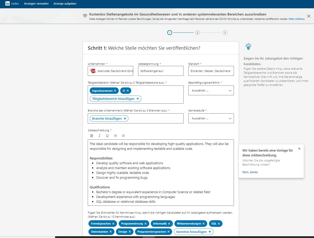 LinkedIn Jobs Stellenanzeigenformular